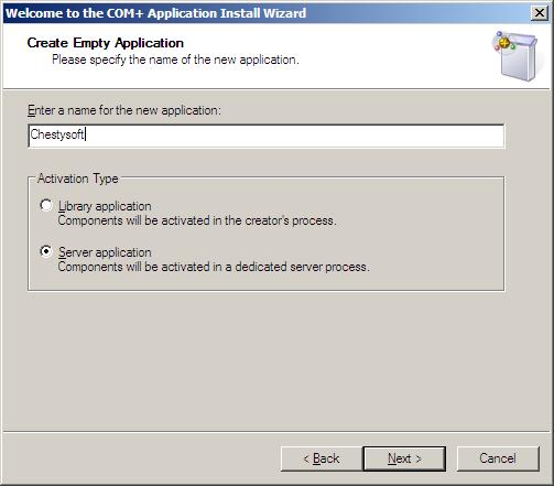 Creating a COM+ Application for an ASP Component in